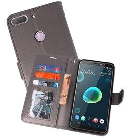 Wallet Cases Hoesje voor HTC Desire 12 Plus Grijs