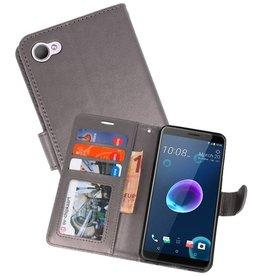 Wallet Cases Hoesje voor HTC Desire 12 Grijs
