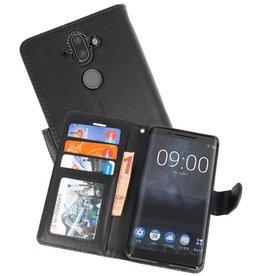 Wallet Cases Hoesje voor Nokia 8 Sirocco Zwart