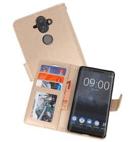 Wallet Cases Hoesje voor Nokia 8 Sirocco Goud