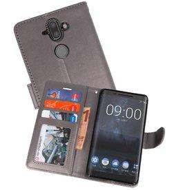 Wallet Cases Hoesje voor Nokia 8 Sirocco Grijs