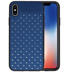 Witte Chique Hard Cases voor iPhone X Blauw