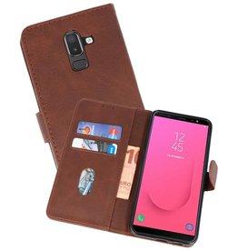 Samsung Galaxy J8 Hoesje Kaarthouder Book Case Telefoonhoesje Mocca