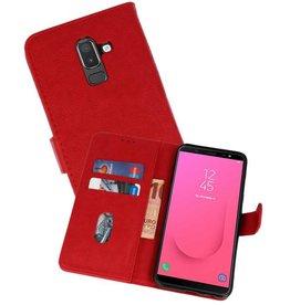 Samsung Galaxy J8 Hoesje Kaarthouder Book Case Telefoonhoesje Rood
