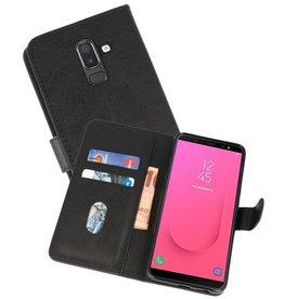 Samsung Galaxy J8 Hoesje Kaarthouder Book Case Telefoonhoesje Zwart