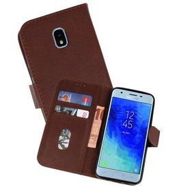 Samsung Galaxy J3 2018 Hoesje Kaarthouder Book Case Telefoonhoesje Donker Bruin