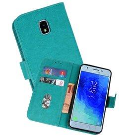 Samsung Galaxy J3 2018 Hoesje Kaarthouder Book Case Telefoonhoesje Groen