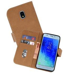 Samsung Galaxy J3 2018 Hoesje Kaarthouder Book Case Telefoonhoesje Bruin