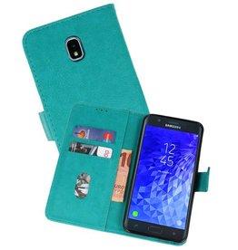 Samsung Galaxy J7 2018 Hoesje Kaarthouder Book Case Telefoonhoesje Groen
