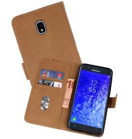Samsung Galaxy J7 2018 Hoesje Kaarthouder Book Case Telefoonhoesje Bruin