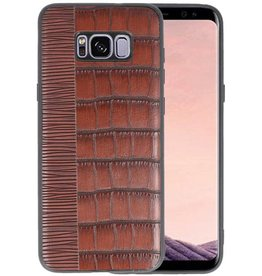 Croco Hard Case voor Samsung Galaxy S8 Plus Donker Bruin