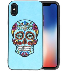 Borduurwerk Doodshoofd Back Cases voor iPhone X Blauw