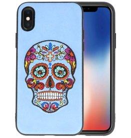 Borduurwerk Doodshoofd Back Cases voor iPhone X Pastel Blauw