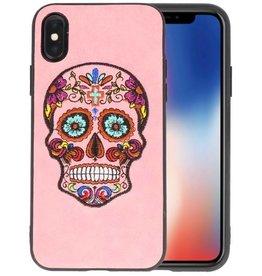 Borduurwerk Doodshoofd Back Cases voor iPhone X Roze