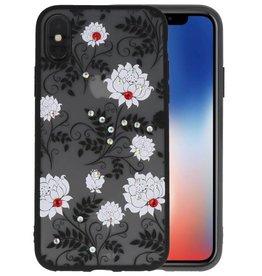 Diamant Lotus Hoesjes Cases voor iPhone X Wit