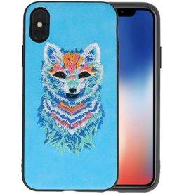 Borduurwerk Wolf Back Cases voor iPhone X Blauw