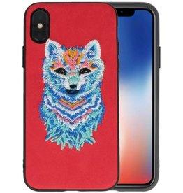 Borduurwerk Wolf Back Cases voor iPhone X Rood