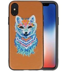 Borduurwerk Wolf Back Cases voor iPhone X Bruin