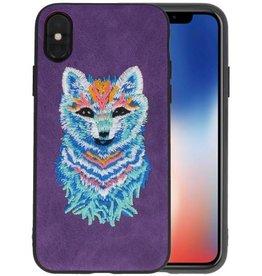 Borduurwerk Wolf Back Cases voor iPhone X Paars