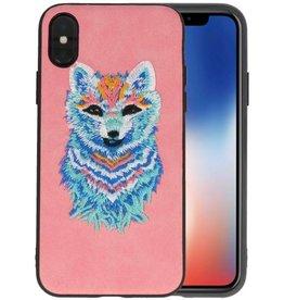 Borduurwerk Wolf Back Cases voor iPhone X Roze