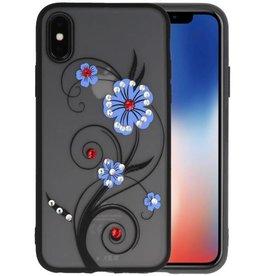 Diamant Lelies Hoesjes Cases voor iPhone X Blauw