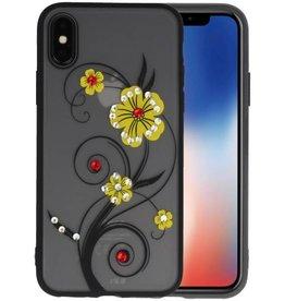 Diamant Lelies Hoesjes Cases voor iPhone X Geel