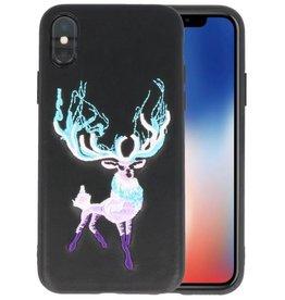 Borduurwerk Hert Back Cases voor iPhone X Zwart
