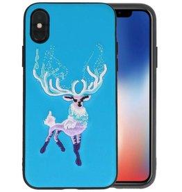 Borduurwerk Hert Back Cases voor iPhone X Blauw