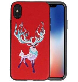 Borduurwerk Hert Back Cases voor iPhone X Rood