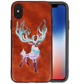 Borduurwerk Hert Back Cases voor iPhone X Bruin