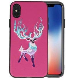 Borduurwerk Hert Back Cases voor iPhone X Donker Roze