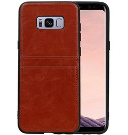 Back Cover 2 Pasjes Hoesje voor Galaxy S8 Plus Bruin