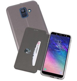 Slim Folio Case voor Galaxy A6 2018 Grijs