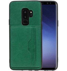 Staand Back Cover 2 Pasjes voor Galaxy S9 Plus Groen