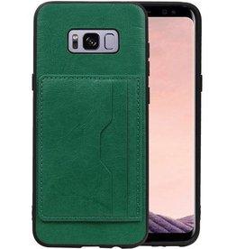 Staand Back Cover 2 Pasjes voor Galaxy S8 Plus Groen