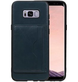 Staand Back Cover 2 Pasjes voor Galaxy S8 Plus Navy