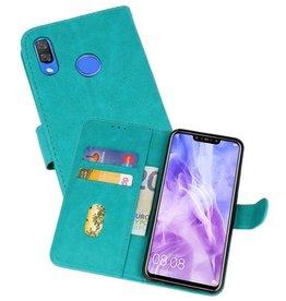 Huawei Nova 3 Hoesje Kaarthouder Book Case Telefoonhoesje Groen