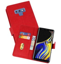 Bookstyle Wallet Cases Hoes voor Galaxy Note 9 Rood