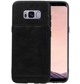 Staand Back Cover 1 Pasjes Galaxy S8 Zwart