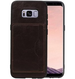 Staand Back Cover 1 Pasjes Galaxy S8 Mocca