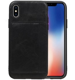 Staand Back Cover 1 Pasjes iPhone X Zwart