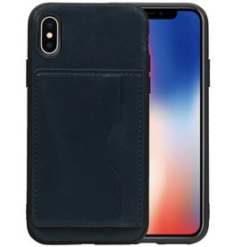 Staand Back Cover 1 Pasjes iPhone X Navy