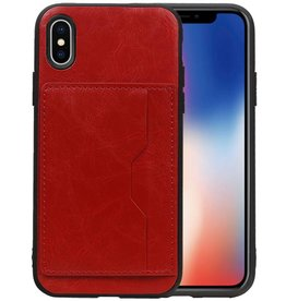 Staand Back Cover 1 Pasjes iPhone X Rood
