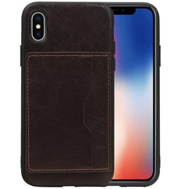 Staand Back Cover 1 Pasjes iPhone X Mocca