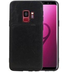 Staand Back Cover 1 Pasjes Galaxy S9 Zwart