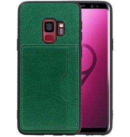 Staand Back Cover 1 Pasjes Galaxy S9 Groen