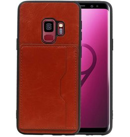 Staand Back Cover 1 Pasjes Galaxy S9 Bruin