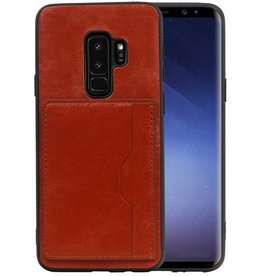 Staand Back Cover 1 Pasjes Galaxy S9 Plus Bruin