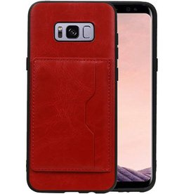 Staand Back Cover 1 Pasjes Galaxy S8 Plus Rood