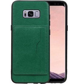 Staand Back Cover 1 Pasjes Galaxy S8 Plus Groen